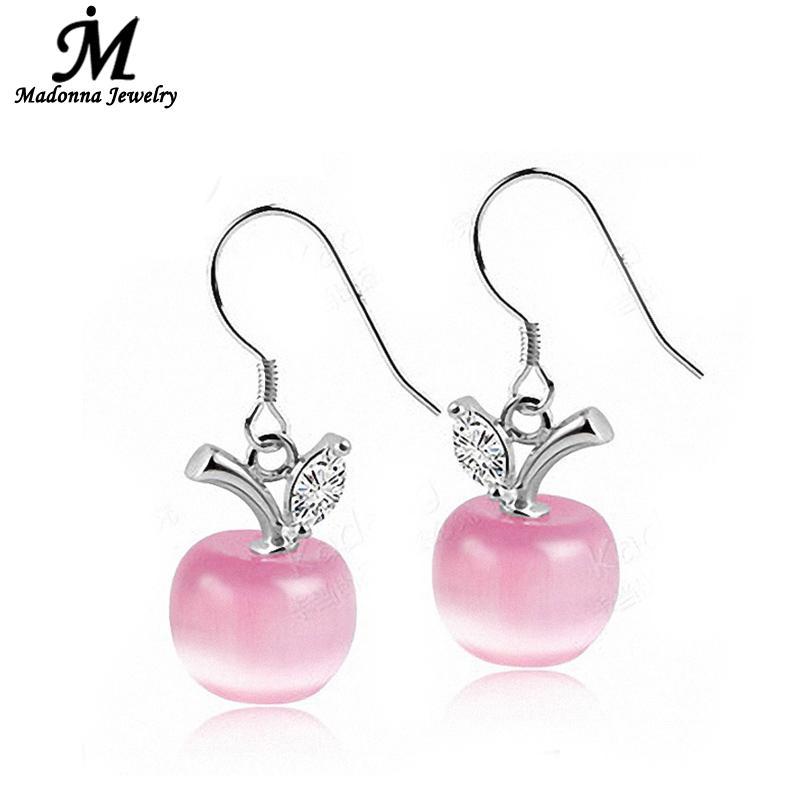 Նորաձևություն վարդագույն սպիտակ խնձոր Opal քարե ականջող ականջողներ Beads Long stud Ականջօղեր կանանց համար Crystal Design Արծաթյա զարդեր մեծածախ