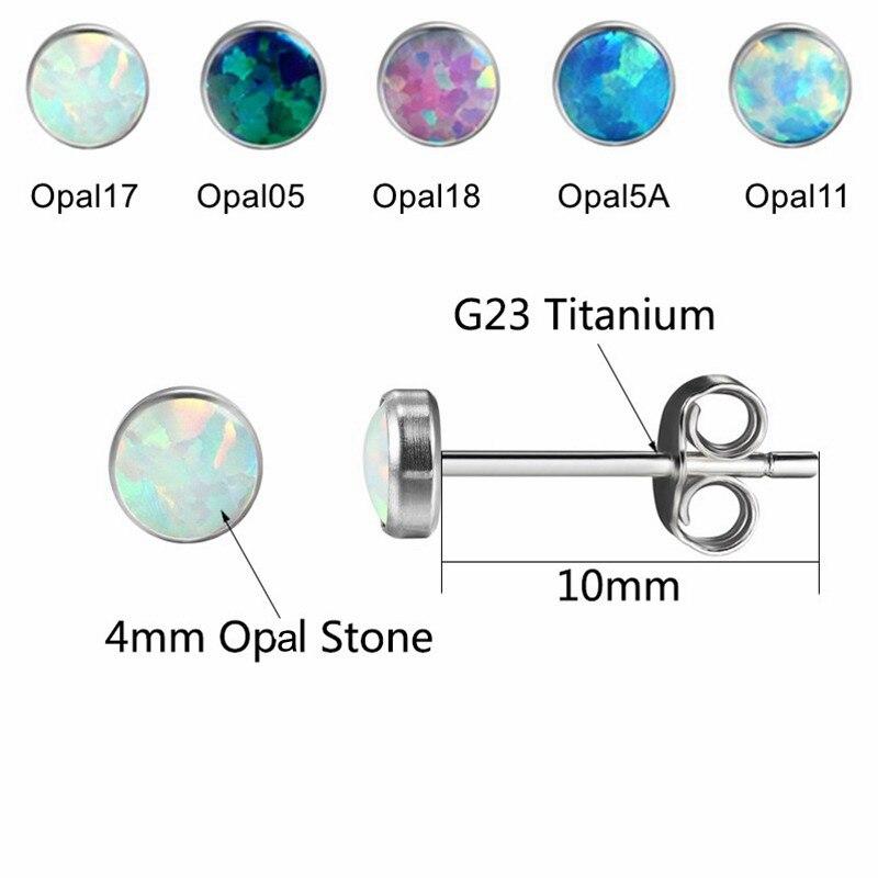 G23titan marke feueropal ohrringe 4mm naturopal stein g23 titanium - Modeschmuck - Foto 2