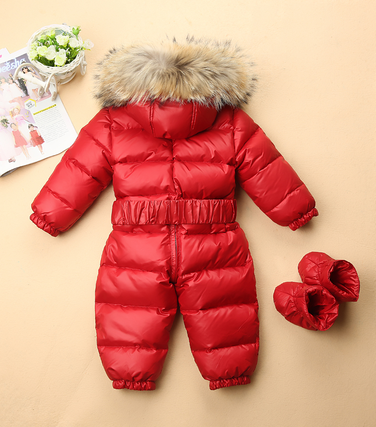 Winter Duck Down Rompers Kids Clothing Baby Boy& Girl Outdoor Waterproof Coat Children Ski Suit Girls Overall Real Fur Jumpsuit стоимость