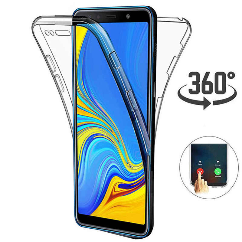 360 grados caso para Samsung Galaxy A20E A70 A50 A30 M40 M30 S10 Lite S9 S8 más A9 2019 A7 funda transparente suave de silicona A8 A6 2018