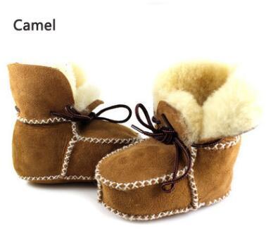New sheepskin Genuine Leather Wool fur baby boy Winter boots