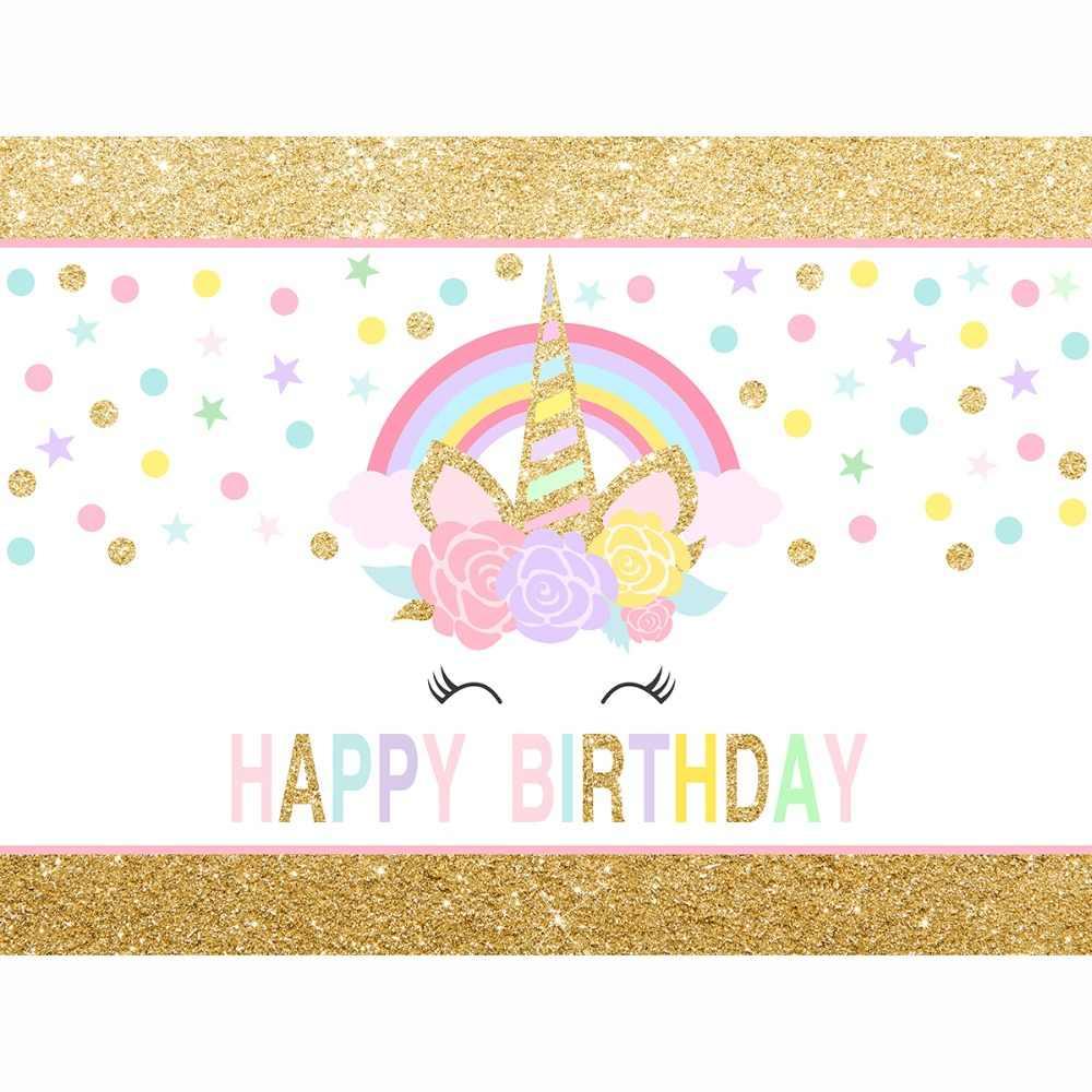 Funnytree photocall unicórnio pano de fundo bonito ouro rosa colorido tamanho pequeno bebê criança festa aniversário fotografia fundo da foto
