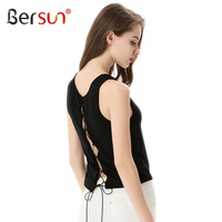 Bersun 2017 New Fashion Women S Crop Top Vest Sexy Backless Bandage Sleeveless T Shirts Summer