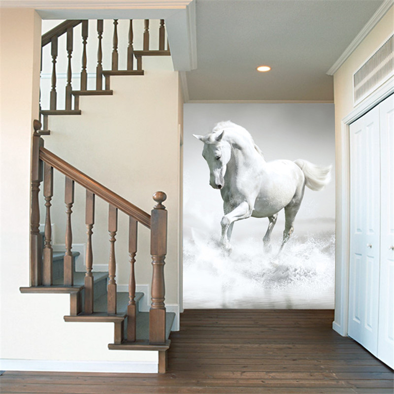 Custom  photo wallpaper 3d Modern Continental white horse gallop living room TV background mural wall paper wall painting custom photo wallpaper modern style simple white rose as living room sofa background 3d mural wall paper on the wall