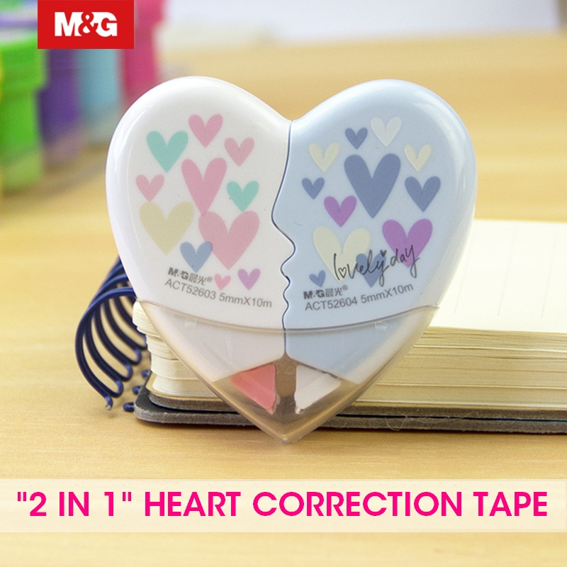 """M&G 12pcs/Lot Cute Kawaii """"2 In 1"""" Heart Shape Correction Tape 10m Corrector School Tape Supplies Stationery White Out Roller"""