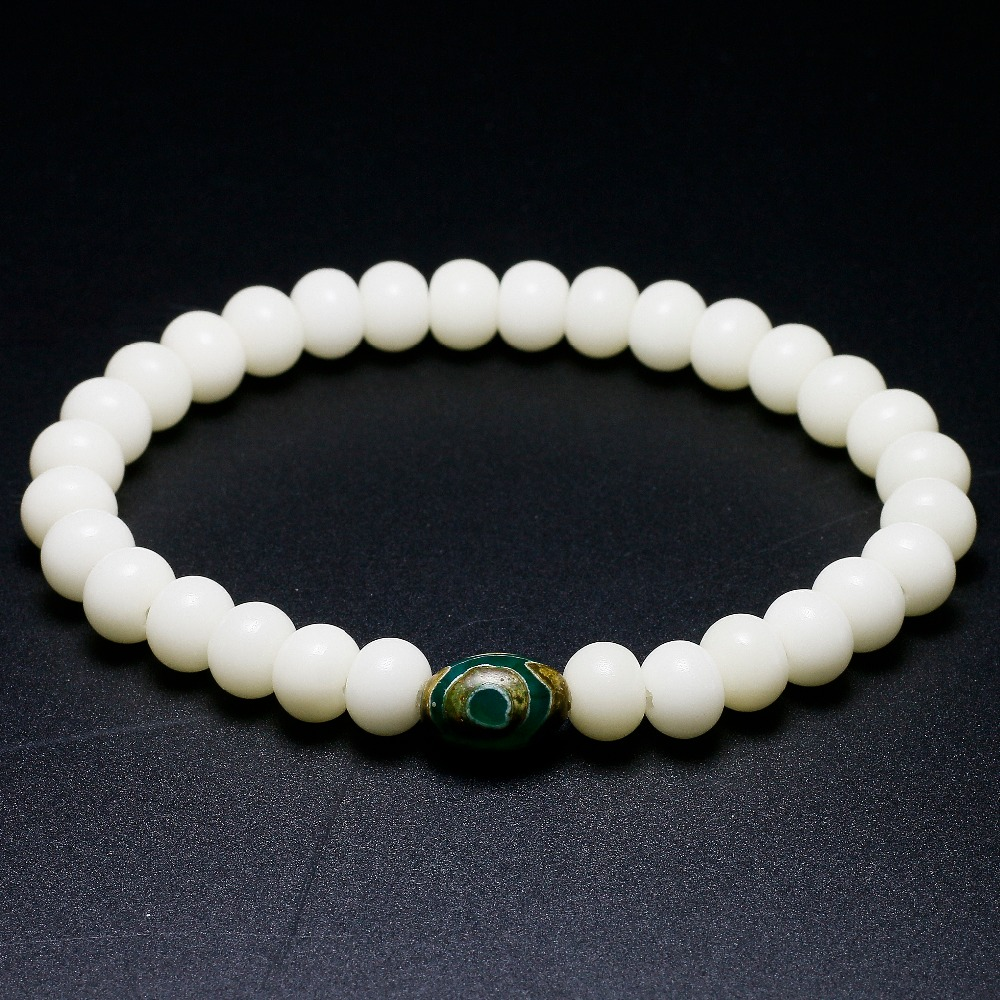 Natural White Bodhi Beads Stretch Nepal ZEN Bead Bracelet Seed Buddhist Ethnic Ebony Buddha Bracelet For Women and Men