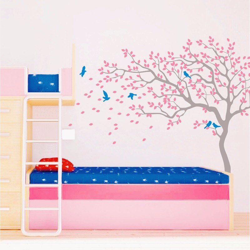 2016Hot Huge White Tree Flowers Vinyl Wall Decals Nursery Tree and Birds Wall Art Baby Kids Bedroom Wall Sticker DIY Home Decor