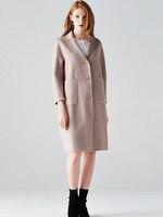 Высокое качество 2019 модное шерстяное пальто Осенне зимняя Дамская обувь новый двухсторонний кашемир Элегантная куртка Цвет длинное шерстя