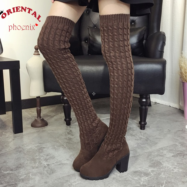 Women Boots 2016 Autumn Winter Ladies Fashion Flat Bottom Boots Shoes Over The Knee Thigh High Knitting wool Long Brand Boots