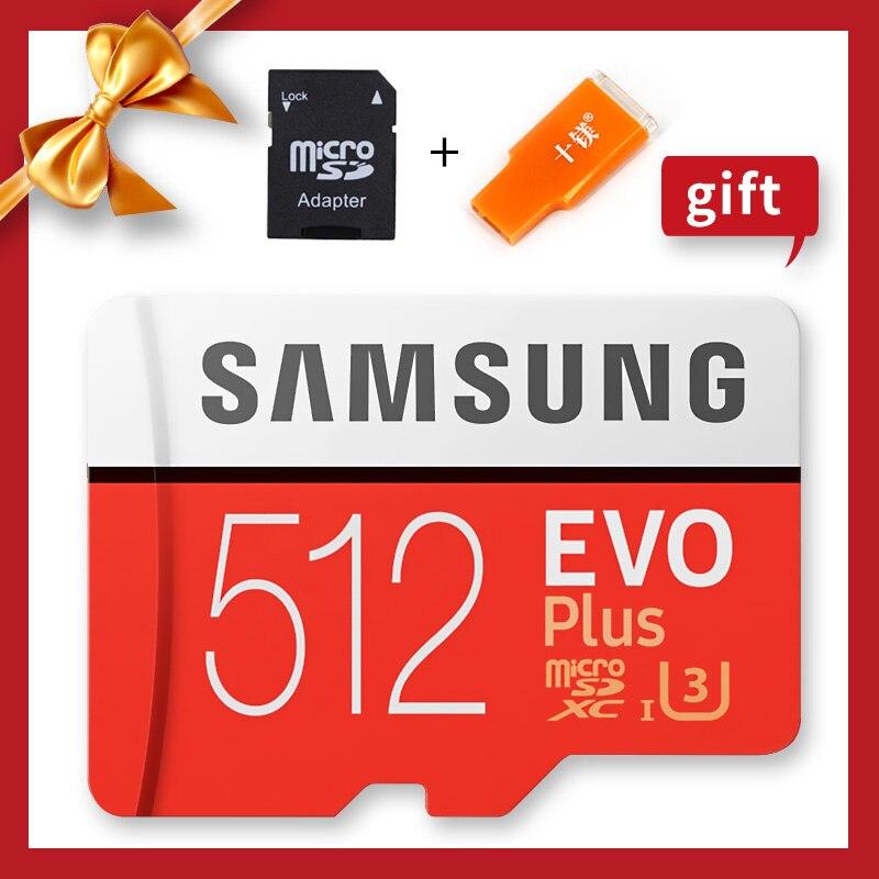 SAMSUNG 100% Original Genuine U3 SDXC de 512 GB 256G 128 GB EVO Mais Class10 Cartões Microsd Cartão de Memória Micro SD TF Cartão de Memória Flash
