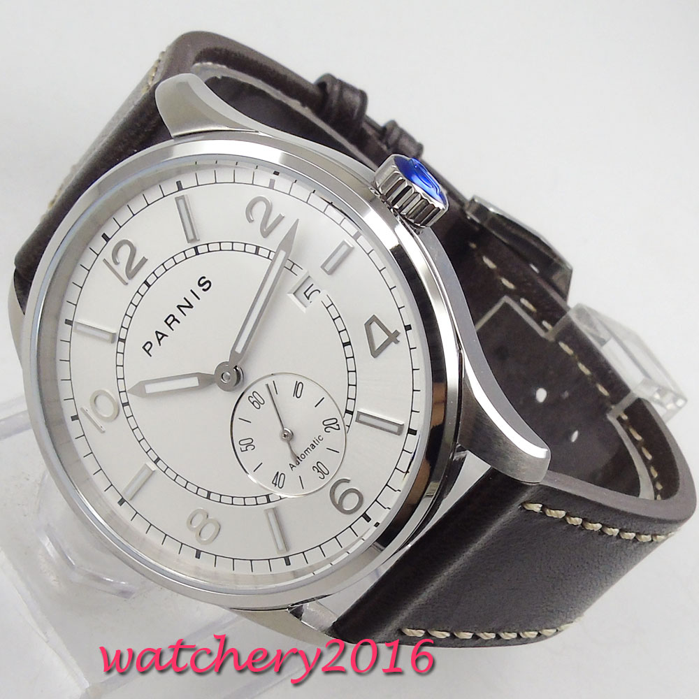 Luxury 42MM PARNIS Automatic Self Wind Mechanical Stainless steel ST 1731 Movement watches White dial Luminous