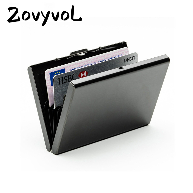 ZOVYVOL Stainless Steel Aluminium Metal Case Box Men Business Credit Card Holder Case Cover Women Coin Purse Card  Rfid Wallet