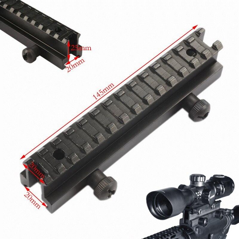 MIZUGIWA AR Riser Mount Weaver Picatinny haut profil voir à travers 20mm avec 13 fentes Weaver Picatinny Rails plat Top fusil pistolet