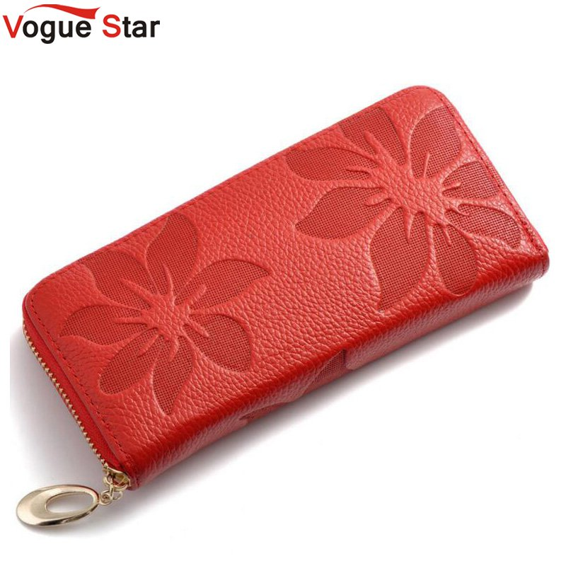 Vogue Star Genuine Leather Wallet Women Lady Long Wallets Women Purse Female 6 Colors Women Wallet Card Holder Day Clutch  LB225 2017 new genuine leather wallet women lady long wallets women purse female 5 colors women wallet card holder day clutch dc249