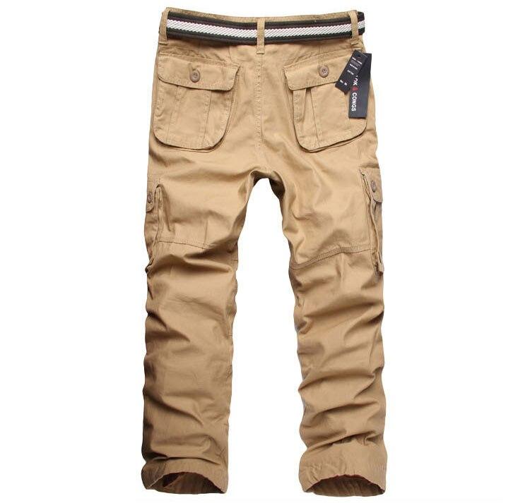 2018 sonbahar kış pamuk erkek kargo pantolon erkekler Rahat - Erkek Giyim - Fotoğraf 4