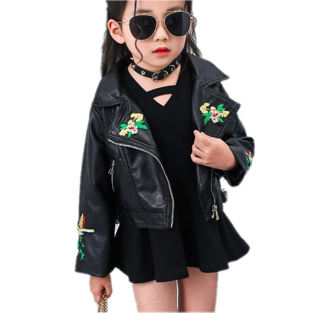 9339331ef67a New Coats Girls Embroidered Leather Jackets Black Color Turn down ...