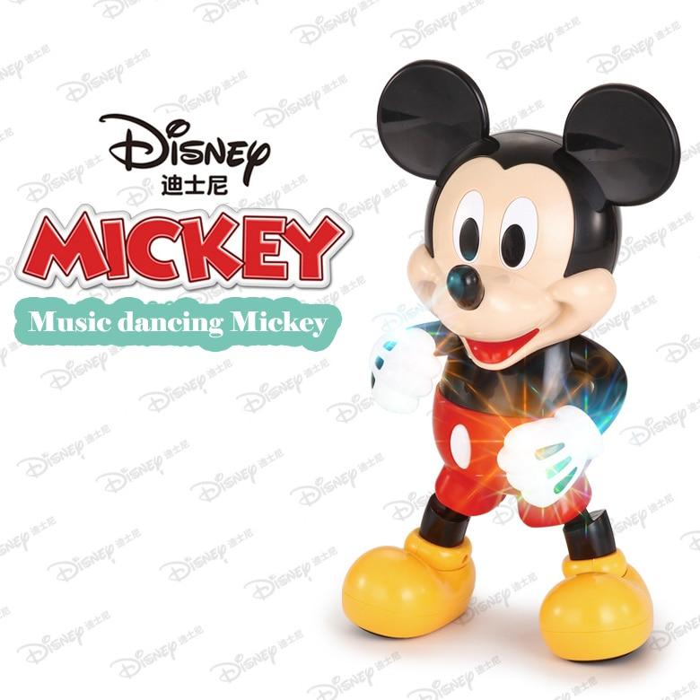 Disney Dancing Mickey Mouse Dazzling Music Robot Shiny Educational Toys Electronic Walking Dancing Robot Kids Music Robot Toys