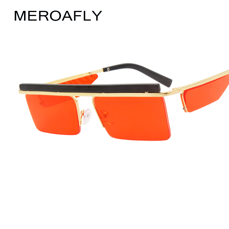 8c3170cf02 Detail Feedback Questions about MEROAFLY Black Rectangle Sunglasses Men  Square Summer 2018 Metal Half Frame Brown Red Fashion Sun glasses For Women  Brands ...