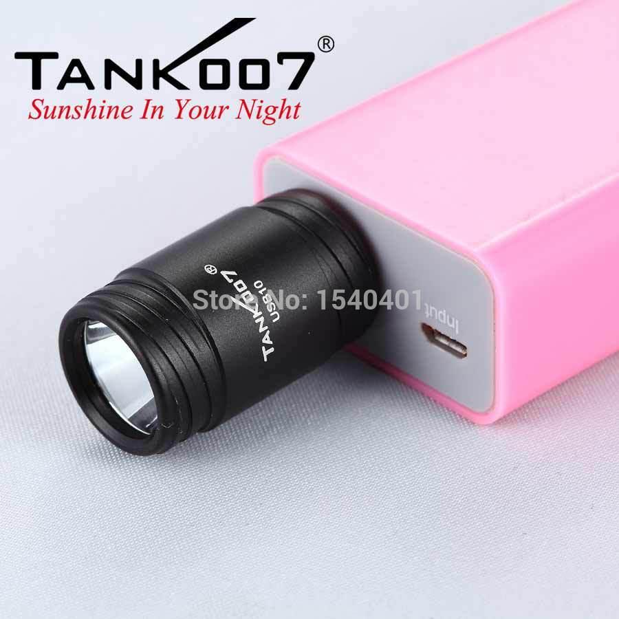 купить New mini Cree XP-E LED flashlight tank007 keychain USB10 led black light li-ion torch онлайн