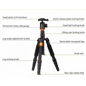 Image 2 - QZSD Q278 professionnel Portable en alliage daluminium appareil photo voyage léger trépied et monopode support avec rotule pour Nikon DSLR
