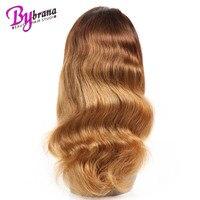 Ombre 1b/блондинка парик человеческих волос для черных Для женщин с натуральных волос Реми бразильский объемная волна 100% парики человеческих в