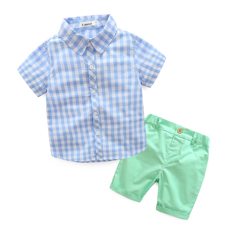 Boys Casual Clothing Sets New Style Fashion Children Summer Plaid Short Sleeve Shirt+Pant two piece Suit Set