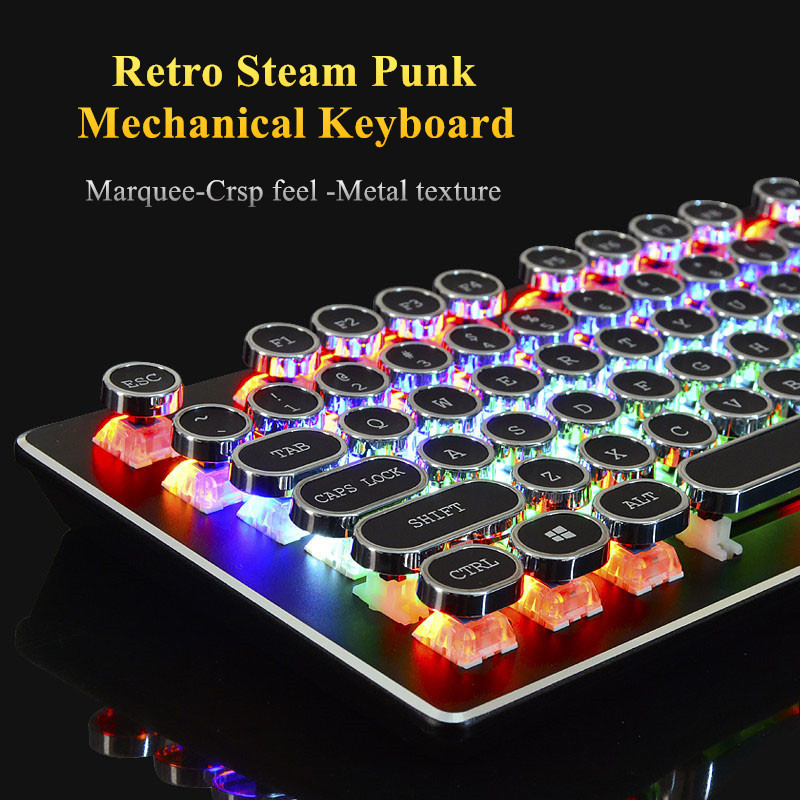 Retro Steam Punk Wired Mechanical Keyboard 104 Keys Real RGB Blue Switch Gaming LED Backlit Anti-Ghosting for Gamer Computer free gift mouse pad motospeed ck104 wired mechanical keyboard 104 keys real rgb blue switch gaming led backlit anti ghosting