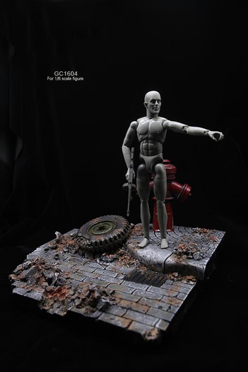 1/6 фигурка солдата аксессуары для сцены GC1604 мировая война II европейские уличные руины Модель сцена платформа, игрушка для 12 ''фигурка - 2