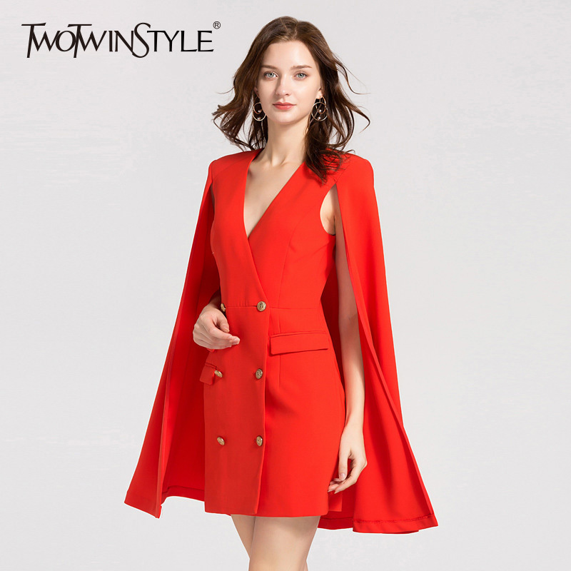TWOTWINSTYLE Autumn Dresses For Women V Neck Cloak Sleeve High Waist Double Breasted Mini Dress Female