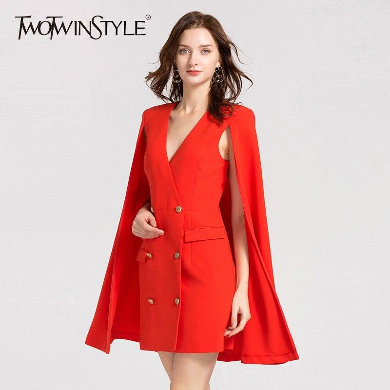Deuxtwinstyle automne robes pour femmes col en V cape manches taille haute Double boutonnage Mini robe femme élégant Slim 2018 coréen