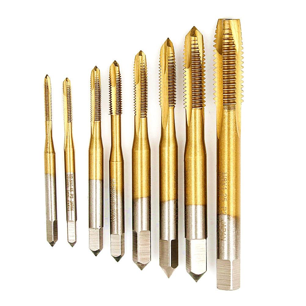 HOT ! Hand Tap Drill Bits Screw Spiral Point Thread  Metalworking Hex Shank Machine Taps Kit M2/M2.5/M3/M3.5/M4/M5/M6/M8