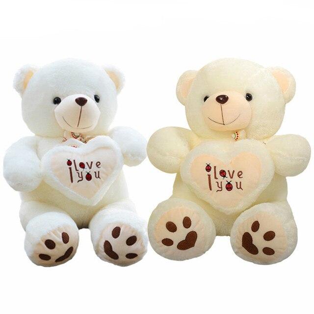 09fa2d551179 1pcs 50cm Stuffed Plush Toy Holding I Love You Heart Big Plush Teddy Bear  Soft Gift for Valentine Day Birthday Girls