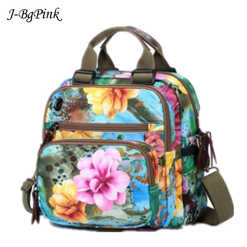 Backpacks Woman 2019 Pink New Multifunction Rose Flowerbackpacks Harajuku Style For Women Waterproof Nylon Backpacks  Mother Bag