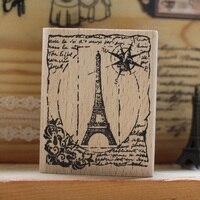 מגדל אייפל בציר DIY גומי עץ חותמת רעיונות בולים carimbo stempel גלויה או סימנייה 6*5 ס