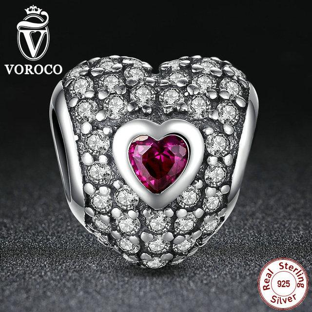 Original 925 dazzling encanto en forma de corazón púrpura cubic zirconia fit pandora pulsera de los granos joyería que hace s006