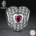 Original 925 sterling silver dazzling heart-shaped charm roxo cubic zirconia fit pandora pulseira de miçangas fazer jóias s006