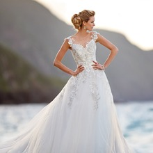 Fnoexw Elegant Sequins Tulle Scoop A-Line Wedding dresses
