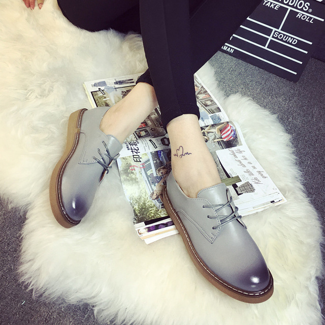 Patchwork Oxford Shoes Woman Sewing Side High Quality Spring Autumn Women Flats Gradient Color Calzado Mujer Lace Up Round Toe
