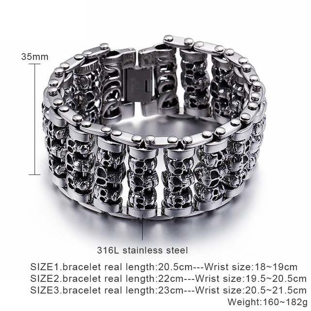 316 STAINLESS STEEL MULTIPLE HEAD SKULL BRACELET