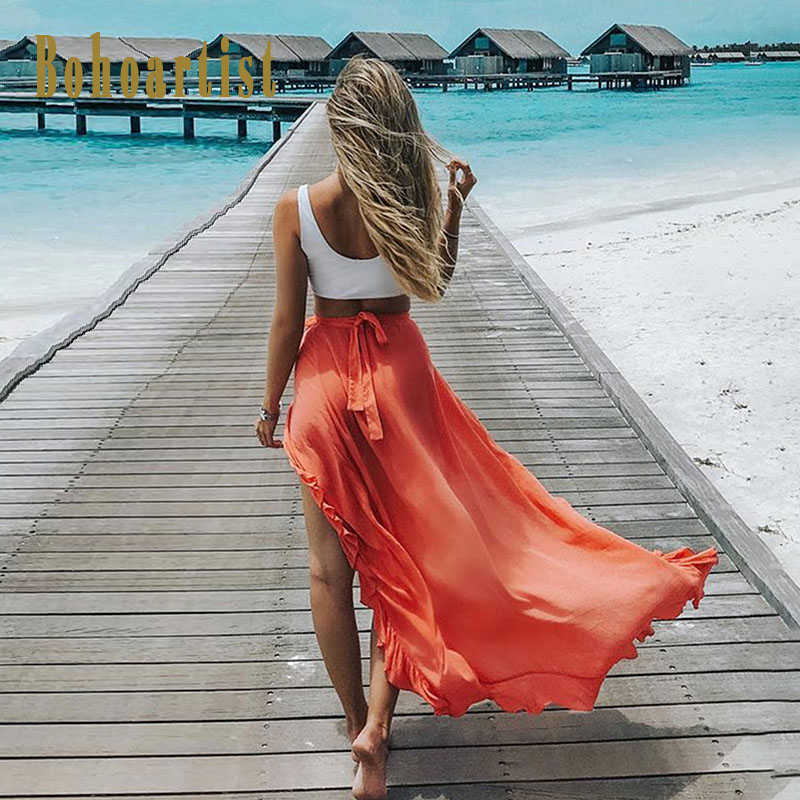 Bohoartist Boho Skirt Women Solid Maxi Skirts Summer Lace Up Ankle Length Split Cotton Casual Ladies 2018 New Chic Long Skirts