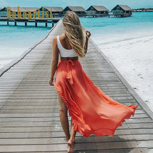 Bohoartist Boho Skirt Women Solid Maxi Skirts Summer Lace Up Ankle Length Split Cotton Casual Ladies 2019 New Chic Long