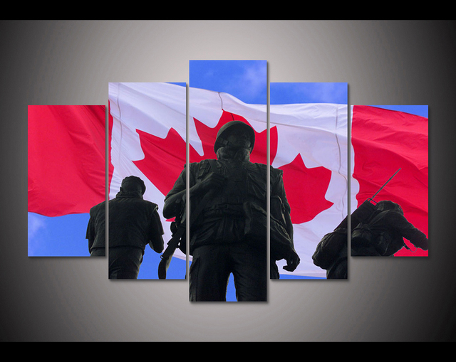 HD Print 5 Pcs Canada Flag Soldiers Canvas Wall Art Painting Modern Home Decor