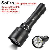 Sofirn C8F Triple Reflector Tactical LED Flashlight 18650 Powerful 2580lm Flash Light Torch 3 Cree XPL