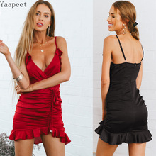 2019 Ruched Ruffled Cami Dress Women Sexy Club Mini Dresses Spaghetti Strap Backless Solid Bodycon Dress Women Clothing