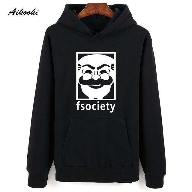 2016 Mr Robot Gray Black 4XL Hooded Sweatshirt Men Hip Hop in Winter Warm Autumn Style Mens Hoodies and Sweatshirts Oversized