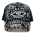 New 2016 Fashion Spring Summer Snapbacks Black White Graffiti Eyes Printing Mesh Baseball Caps Sun Hat Trucker Cap For Men Women