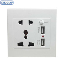 цена на Universal 86 Wall Tabletop Desktop Socket Outlet With Switch AC Power Electrical EU/US/UK/AU Plug Adapter Adaptor 2 USB 10-16A