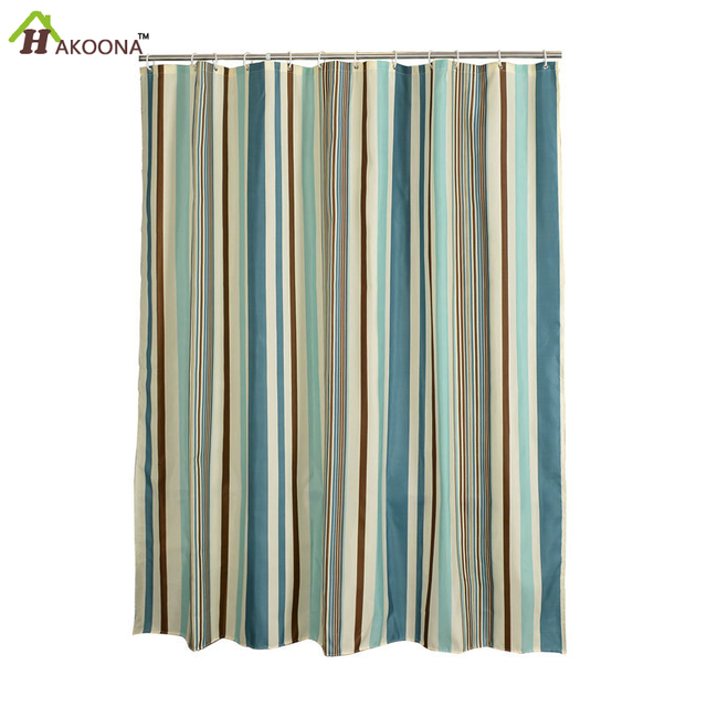 HAKOONA Bathroom Vertical Stripes Shower Curtain Polyester ...