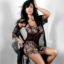 2cba89605 المرأة مثير الملابس الداخلية Babydolls أكمام G-سلسلة الدانتيل ثونغ الملابس  الداخلية نوم عارية الذراعين مفتوحة كوب ملابس خاصة الد.