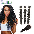 Brazilian Hair Weave Bundles Human Hair With Closure Queen Love Hair 7a Brazilian Loose Wave With Closure Loose Wave Virgin Hair
